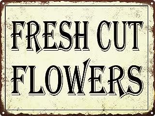 Uptell Fresh Cut Flowers Metal Signs Vintage Look Rustic Metal Signs Retro 8x12 Inch