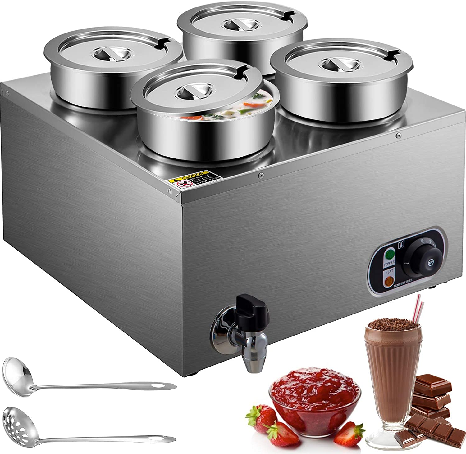 VEVOR 110V Commercial Food Warmer 16.8 Qt Capacity, 1500W Electric Soup Warmer Adjustable Temp.86-185℉, Stainless Steel Countertop Soup Pot with Tap, Bain Marie Food Warmer for Cheese/Hot Dog/Rice