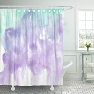 Emvency Shower Curtain Polyester Print 72x72 Inches Colorful Abstract Hand Watercolor Wash Blue Lilac Purple Green Mint White Brush Waterproof Adjustable Hook Bathroom