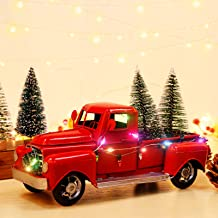 AerWo Red Christmas Truck, Little Red Truck Christmas Decor with 2 Mini Christmas Trees and LED String Lights, Red Metal P...