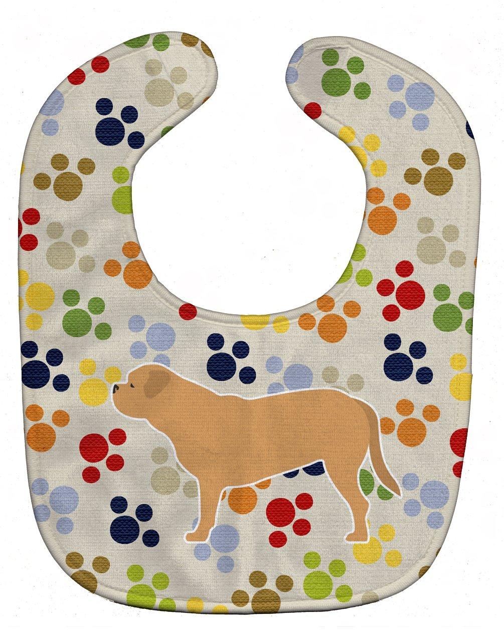 Caroline's Treasures BB6375BIB Dogue de Bordeaux Pawprints Baby Bib, 10 x 13