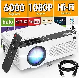 QKK V08 Proiettore 1080P Full HD, Mini Proiettore da 6000 lumen, Proiettore Portatile Compatibile con Chiavetta TV HDMI VG...