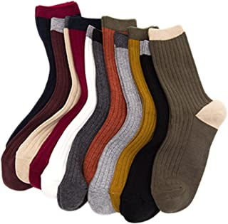 Lian LifeStyle Big Girl's & Women's 4 or 6 Pairs Combed Cotton Socks HR1751 Casual Size L/XL