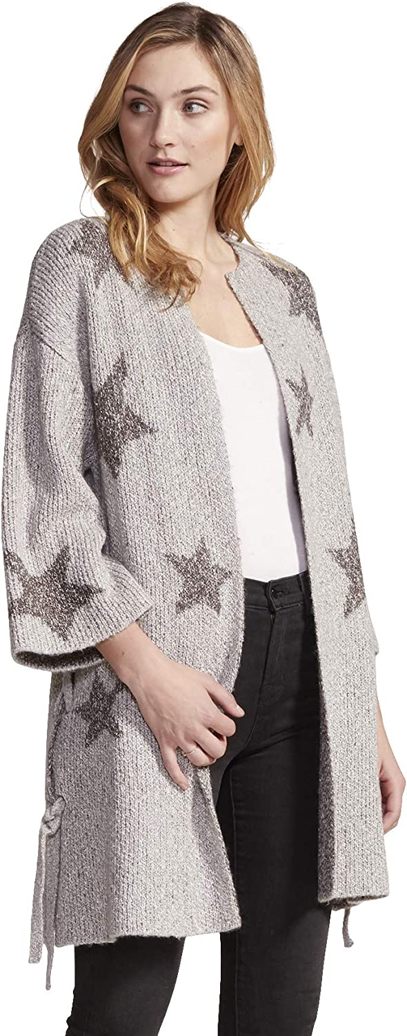 cupcakes and cashmere Women's Etoile Star Jacquard Cardigan with Lace Up Sides