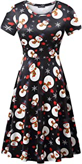 Womens Round Neck Short Sleeve Fit and Flare Skater Midi Casual Christmas Dress …