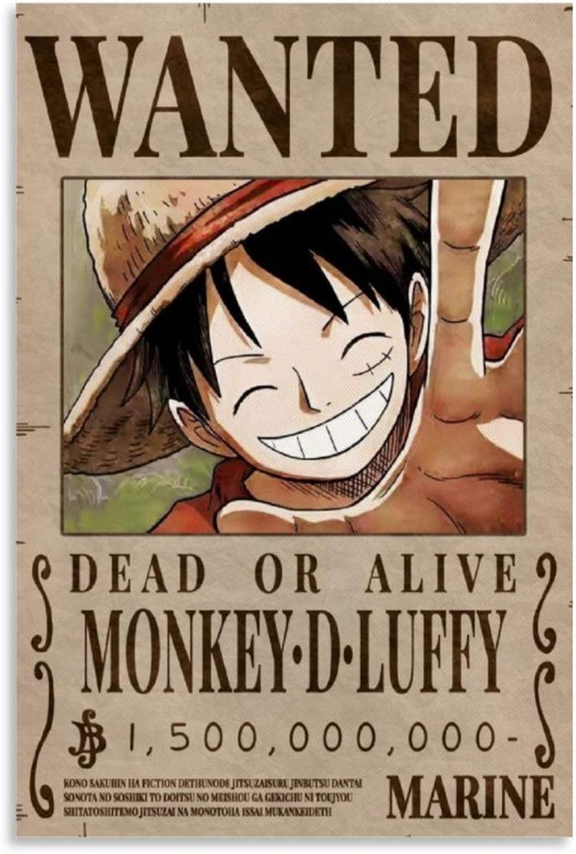 ONE Piece Luffy Bounty Wanted Poster Anime Max Reservation 83% OFF Pai Decorative