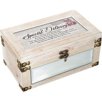 Cottage Garden Special Delivery Written with Love Distressed Whitewash Keepsake Box with 25 Envelopes Set