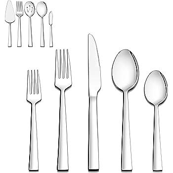 Stainless Steel Service for 16 Fiazer Fiaze 80 Pieces Flatware Cutlery Silverware Set