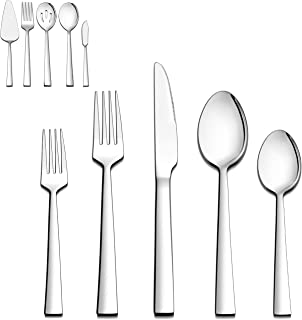 LIANYU 65-Piece Silverware Set with Serving Utensils, Stainless Steel Square Flatware Cutlery Set for 12, Eating Utensils Tableware Set, Mirror Finish