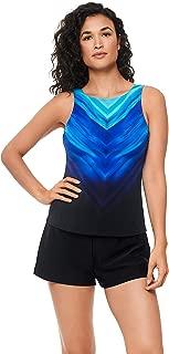 Reebok Women's Swimwear Sport Fashion Chevron Shield High Neck Tankini Bathing Suit Top