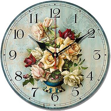 S.W.H Minable Élégant Horloge Murale Florale Vintage en Bois silencieuse pour la décoration de la Chambre à Coucher du Salon