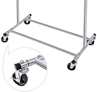 SONGMICS Clothes Rack on Wheels, Heavy Duty Garment Rack with Extendable Hanging Rail, Holds up to 200 lb, Collapsibl...