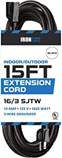 15 Ft Outdoor Extension Cord - 16/3 Durable Black Cable - Great for Christmas Lights