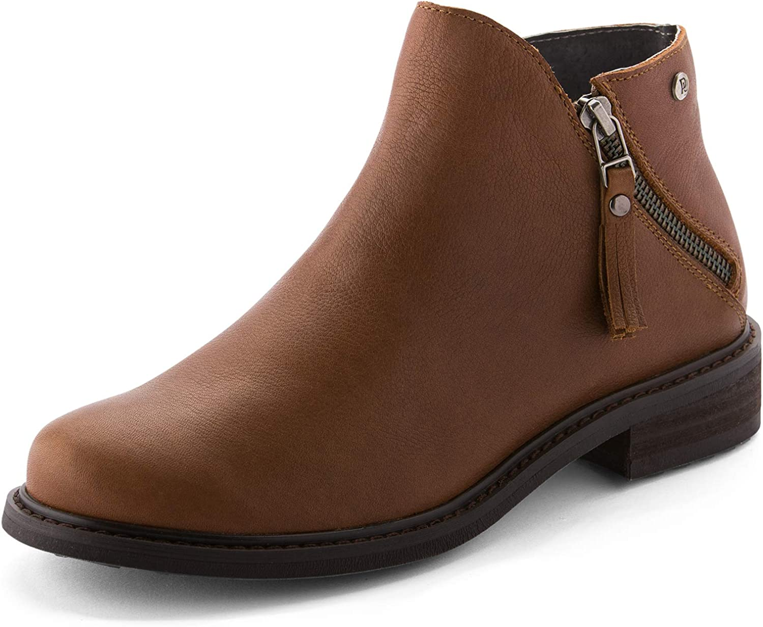 Parfeying Ankle Boots, Waterproof Booties, Non-Slip Rubber Sole, Casual shoes, Pig Leather Lining