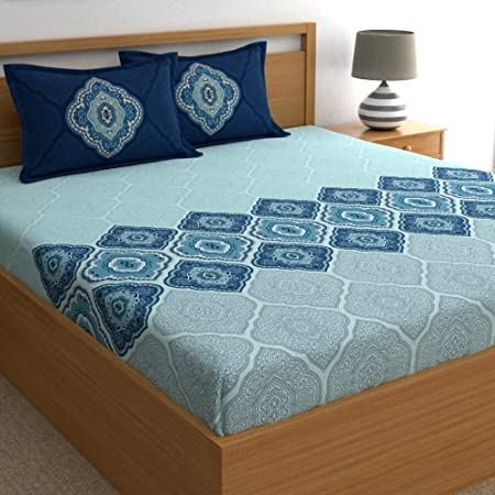 Dreamscape 100% Cotton Double bedsheets with 2 Pillow Covers Cotton, 144tc Ethnic Blue bedsheets for Double Bed Cotton (7.3ft x 8.2ft)