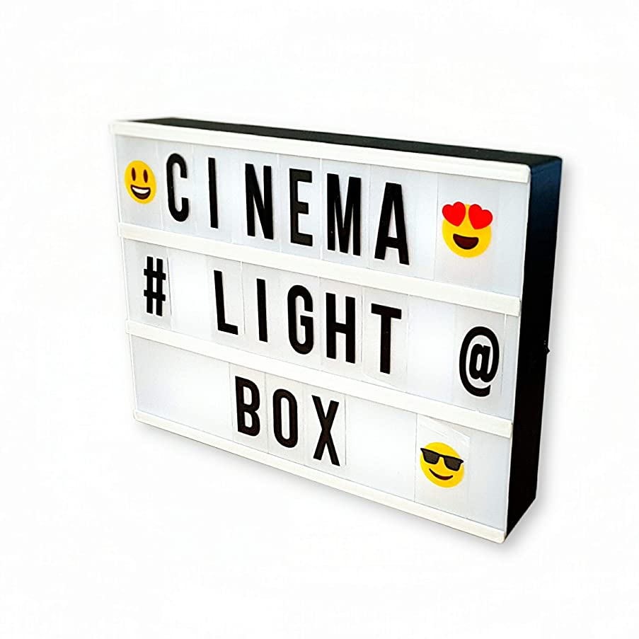MGA Cinema Light Box |A4 Cinematic LED Lightbox for DIY Message with 166 Letters, Numbers, Symbols and Emojis | Battery and USB Powered | Vintage Style Lights for Home Decoration | 60 Inch USB Wire