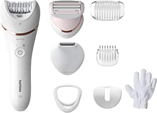 Philips Epilator Series 8000.Wet and Dry Cordless Hair Removal for Legs and Body with 8 Accessories.Shaving head and trimm...