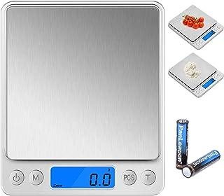 Wodgreat Küchenwaage,3kg 0.1g-genau Elektronische Waage,Haushaltswaage mit praktischer Zuwiegefunktion,Batterien,LCD Display,Tara-Funktion,PCS Funktion,6 Einheiten Konvertierung,Edelstahl