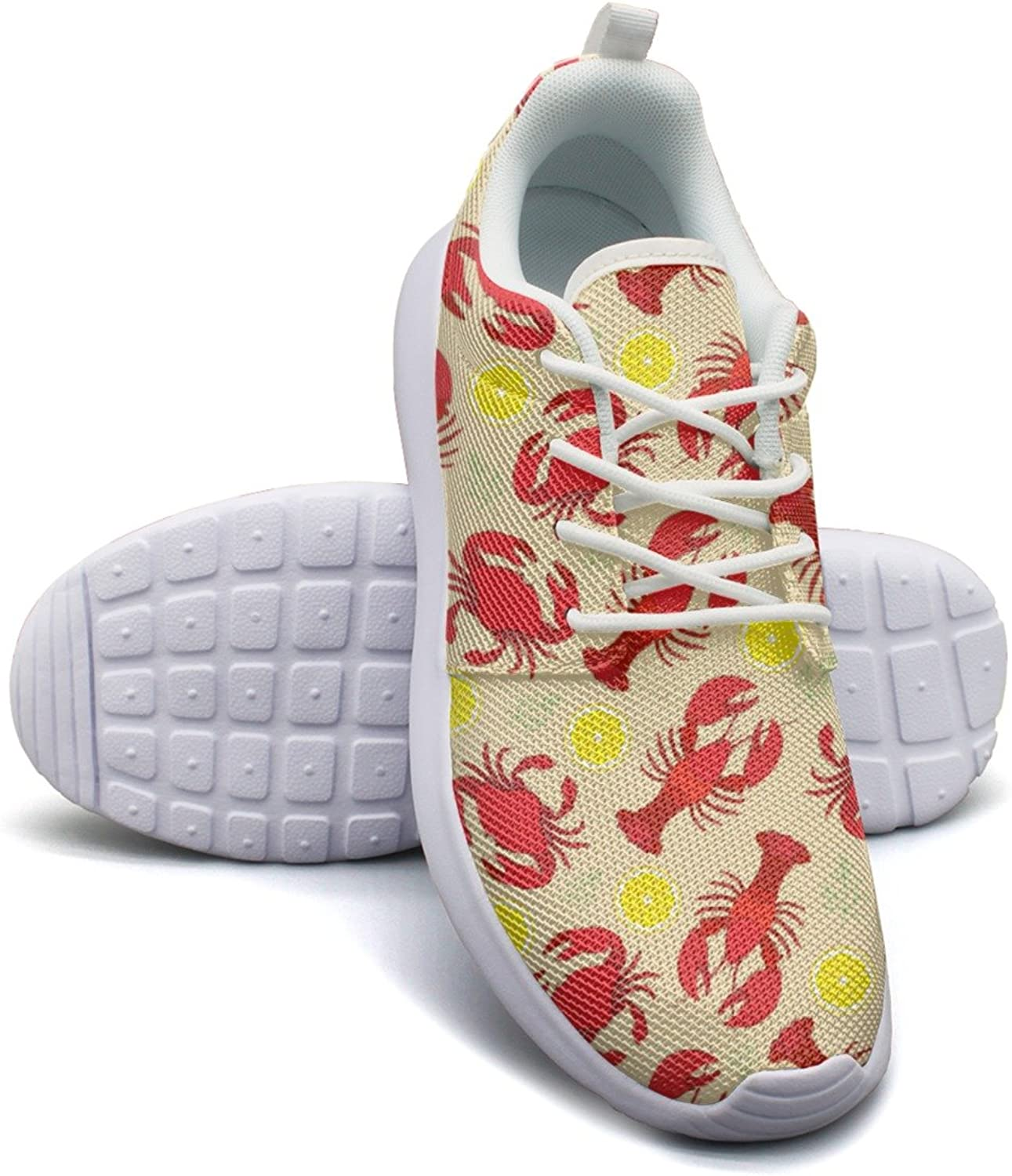 Lobster and Crab with Lemon Fruit Women's Lightweight Mesh Basketball Sneakers Trendy Sports shoes