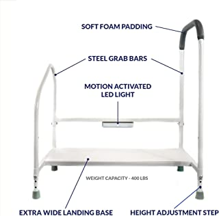 Step2Bed Bed Rails For Elderly with Adjustable Height Bed Step Stool & LED Light for Fall Prevention - Portable Medical Step Stool comes with Handicap Grab Bars making it easy to get in and out of bed