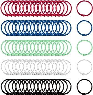 Biubee 100 Pcs Colorful Book Loose Leaf Binder Rings- 30mm Metal Loose Paper Notebook Rings Keychain Rings for Cards, Docu...