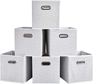 SHACO White Folding Storage Cubes, Durable Double Metal Cube Storage Bin with Rose Pattern(6 Packs)