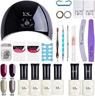 Barniz Gel Semi Permanente–y & S UV LED Esmalte De Uñas Soak Off Gel principiantes Kit 6colores Plus Top y Base Coat 8...