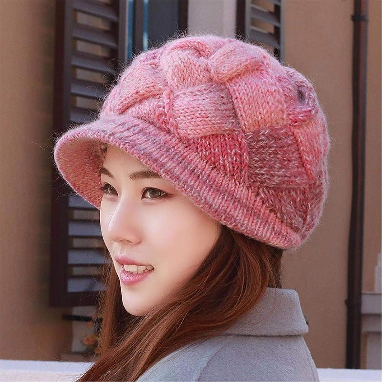 Beach Hat Hat Women's Autumn and Winter Thickening Plush Knit hat Wool Cap Lady's Ear Predectors Cap Baotou hat Summer Sun Hat (color   Pink)