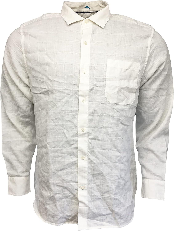Tommy Bahama Men's Button Up Shirt Linen/Polyester Blend Costa Capri ST324798 White (X-Large)