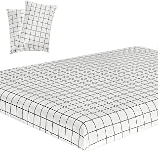 Vaulia Soft Microfiber Sheets, White Grid Printed Pattern Full Size, 3-Piece Set (1 Fitted Sheet, 2 Pillowcases)