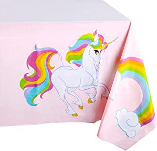 Blue Panda Unicorn Rainbow Party Supplies- 3 Pack Disposable Plastic Rectangular Tablecloths Kids Birthday, Table Cover Decorations in Pink White, 54 x 108 inches