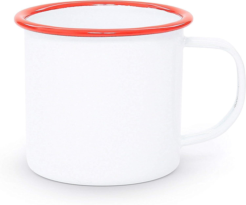 Red Marble Enamelware Coffee Mug