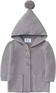 Baby Boy Girl 100% Organic Cotton Knitted Cardigan Sweater with Hood