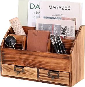 LKMANY Desktop Organizer Desk Drawer Organizer,Mail Organizer Rustic Wood Office Storage Cabinet,6 Compartments Jewelry Organizer Home Desk Organizer with Two Drawers