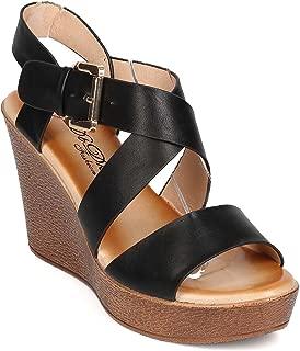 Women Leatherette Open Toe Cross Strap Platform Wedge Sandal EH36 - Black