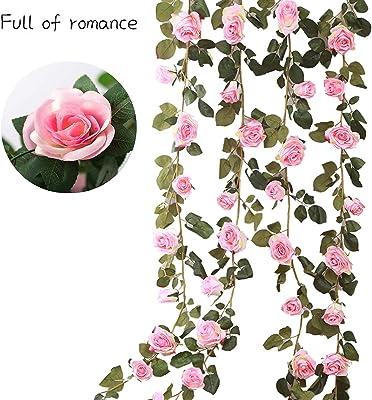 Guirlande De Rose avec Feuille De Lierre Fleurs Lierre Garland Fleurs De Soie pour La Maison Le Jardin Cour Clôture Décor De Mariage Arche Arrangement Exterieur Décoration 230cm 16 Fleur (Rose)
