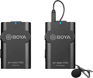 Upgrade 2.4GHz Wireless Lavalier Lapel Mic, BOYA WM4 Mark Ⅱ Omnidirectional Wireless Microphone System with 3.5mm A...