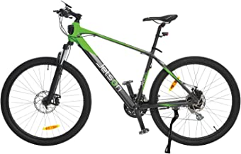 Jetson Adventure Electric Bicycle, Lightweight E-Bike with 21-Speed Shimano Gears, 9 Pedal Assist Levels, Bright LED Headlight, Backlit LCD Display, and Front Suspension, Green/Black