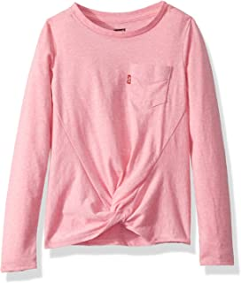 Levi's Girls' Little Long Sleeve Front Tie T-Shirt, Mary's Rose, 4