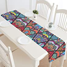 INTERESTPRINT Boho Mandala Table Runner Home Decor 14 X 72 Inch, Tribal Ethnic Floral Table Cloth Runner for Wedding Party Banquet Decoration