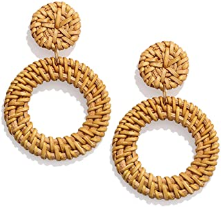 PHALIN Rattan Earrings Handmade Wicker Braid Drop...