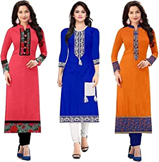 PRAMUKH FASHION Women's Cotton Straight Kurta (Pack of 3) (Combo Kurti for Girl)