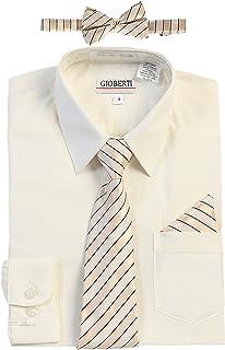 Gioberti Boy's Long Sleeve Dress Shirt + Stripe Tie