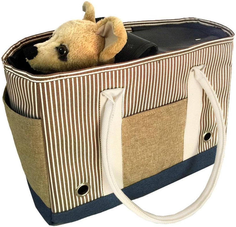 Dixinla Pet Carrier Backpack Oxford striped single shoulder folding portable dog bag cat cage, 40  20  29cm