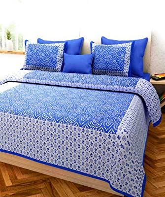 The Craft Maniac Double bedsheet Blue Colour Cotton 110TC with Two Pillow Covers (Blue_Double)