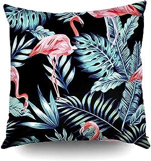 Ducan Lincoln Pillow Case 2PC 18X18,Fundas De Almohada Exotic Tropical Bird Pink Flamingo In The Night Blue Jungle Playa Negra Pascua Ambos Lados Imprimir Zip Fundas De Almohada Cojín