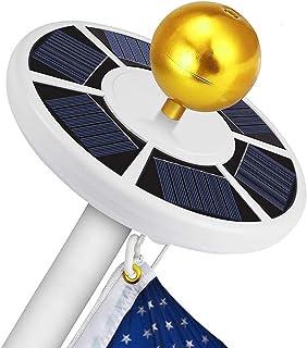 2PC Solar Powered Flag Pole Light Ultra Bright Full Coverage Flagpole Downlight Adjustable Brightness Camping Light-Black