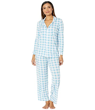 Kickee Pants Collared Pajama Set (Blue Moon 2020 Holiday Plaid) Women