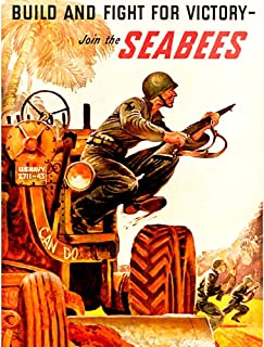 Wee Blue Coo Propaganda War WWII USA Build Fight Victory Seabees Soldier Gun Tractor Unframed Wall Art Print Poster Home Decor Premium