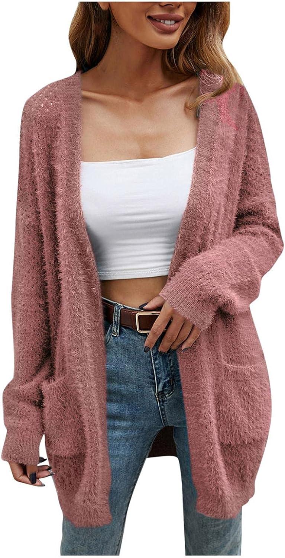 YUNDAN Women's Batwing Sleeve Open Front Cardigan Fashion Solid Waffle Knit Loose Fit Comfy Kimono Sweater Jacket Coat
